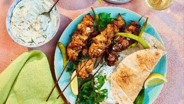 Chicken shawarma flatbreads with shredded slaw, pickled chilli and herb labneh