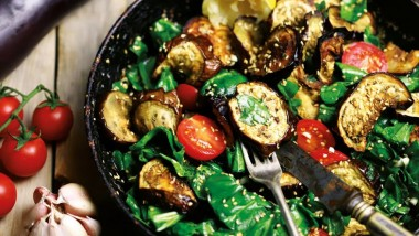 BBQ aubergine and spinach