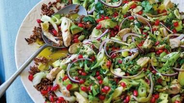 Red camargue & wild rice salad with chicken & avocado