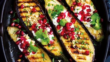 Grilled aubergine with pomegranate seeds