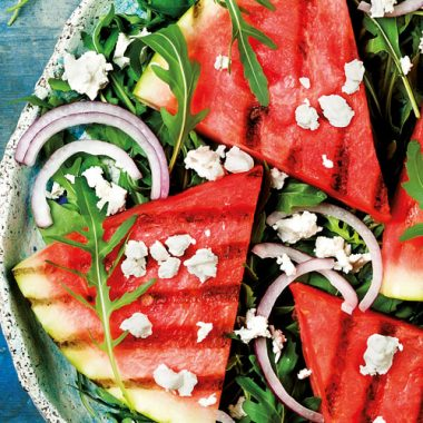 Watermelon, red onion, rocket and feta salad