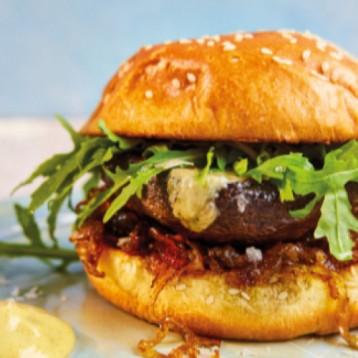 Portobello mushroom burger with stilton, caramelised onions and wild rocket