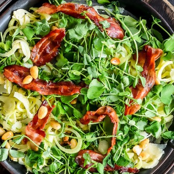 Manchego, honey cooked bacon and almond salad